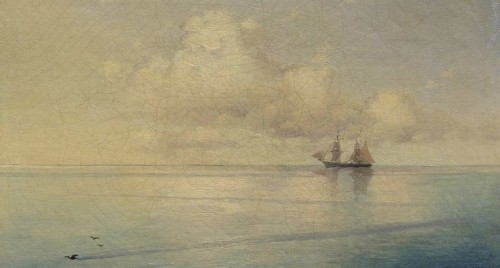 Landscape with a Sailboat, by Ivan Aivazovsky, 1874.